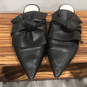 Zara Leather Slides With Bow